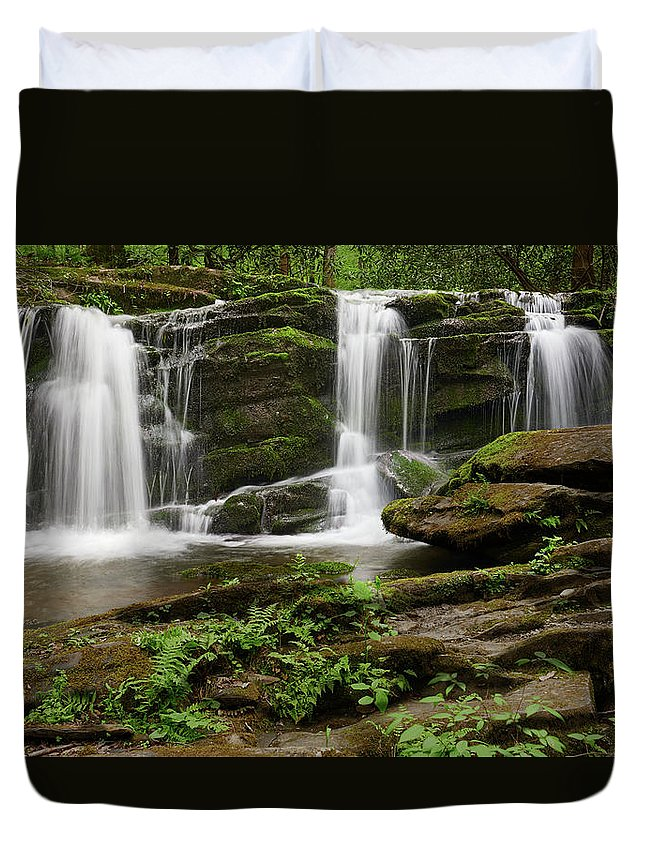Artwork Duvet Cover featuring the photograph Three Falls Of Tremont by Jon Glaser