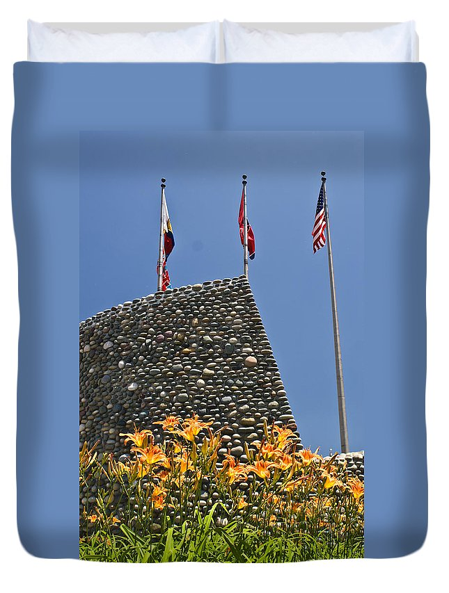 Flags Duvet Cover featuring the photograph Three Flags In Memphis Tennessee by Douglas Barnett