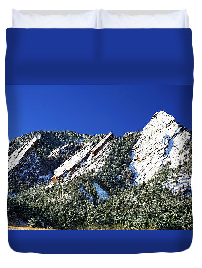 Colorado Duvet Cover featuring the photograph Three Flatirons by Marilyn Hunt