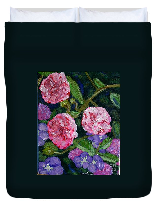Roses Duvet Cover featuring the painting Three For The Show by Laurie Morgan