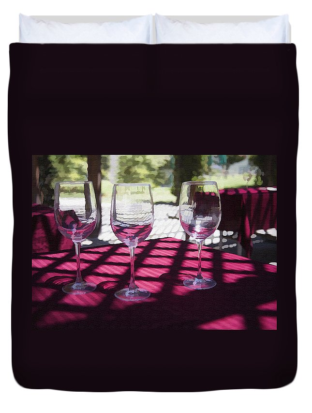 Glass Duvet Cover featuring the photograph Three For Wine by Sharon Foster