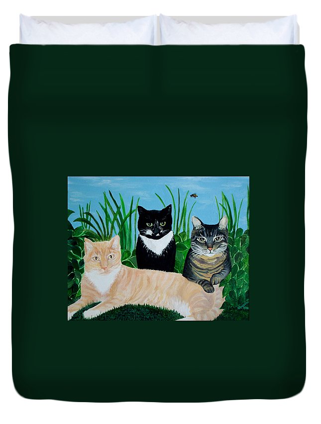 Landscape Duvet Cover featuring the painting Three Furry Friends by Elizabeth Robinette Tyndall