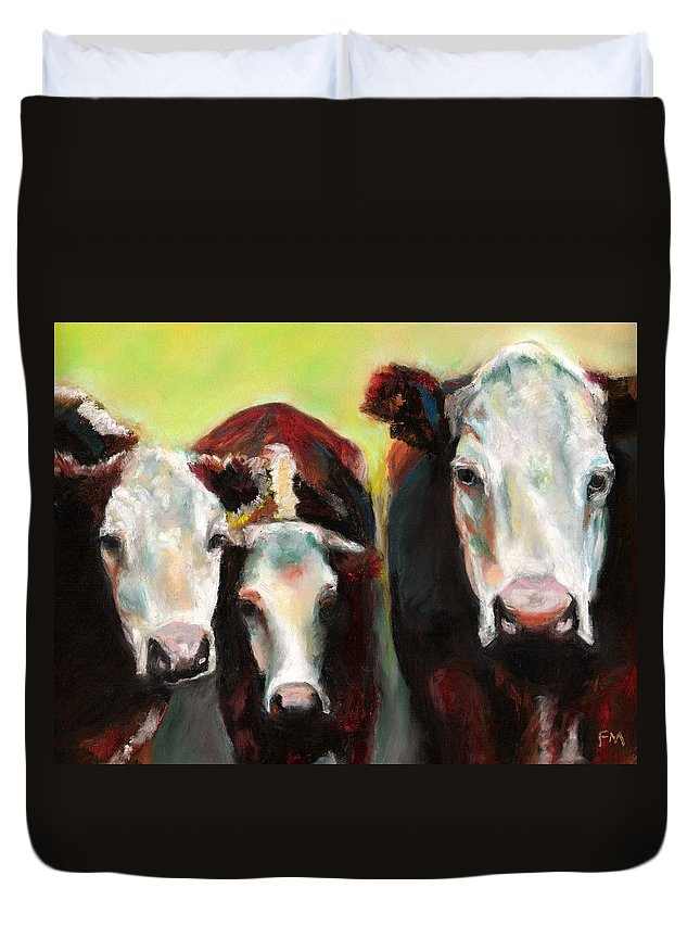 Cows Duvet Cover featuring the painting Three Generations Of Moo by Frances Marino