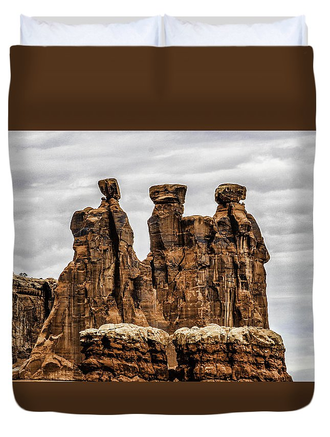 Three Gossips Duvet Cover featuring the photograph Three Gossips by John Hesley