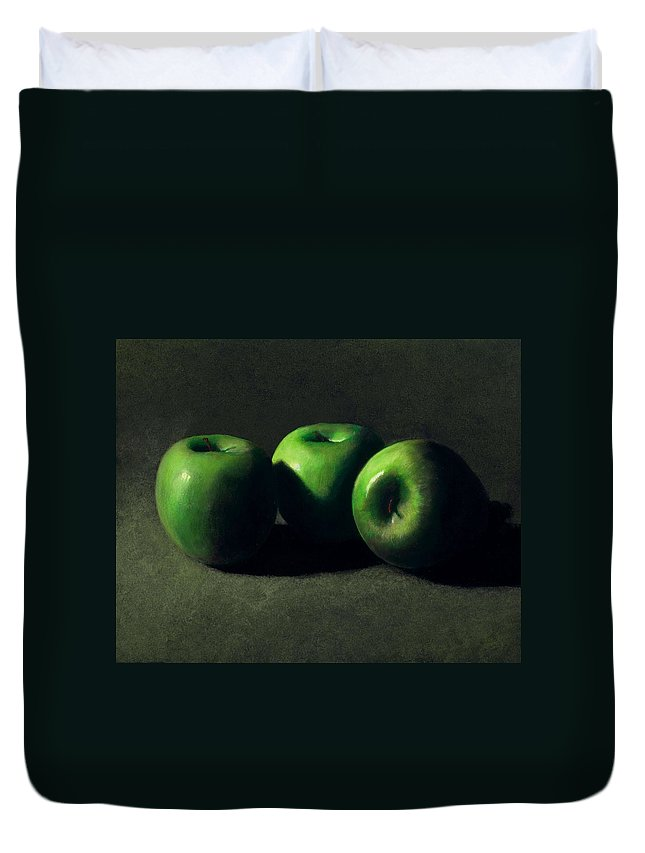 Still Life Duvet Cover featuring the painting Three Green Apples by Frank Wilson