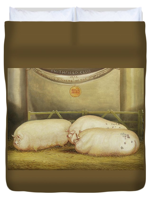 Pig Duvet Cover featuring the painting Three Improved Leicesters In A Pen At 1858 Smithfield Club Christmas Show by John Vine