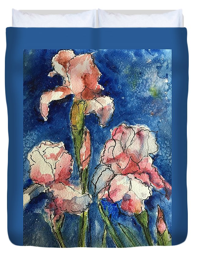 Flowers Duvet Cover featuring the painting Three Iris' by Iva Fendrick
