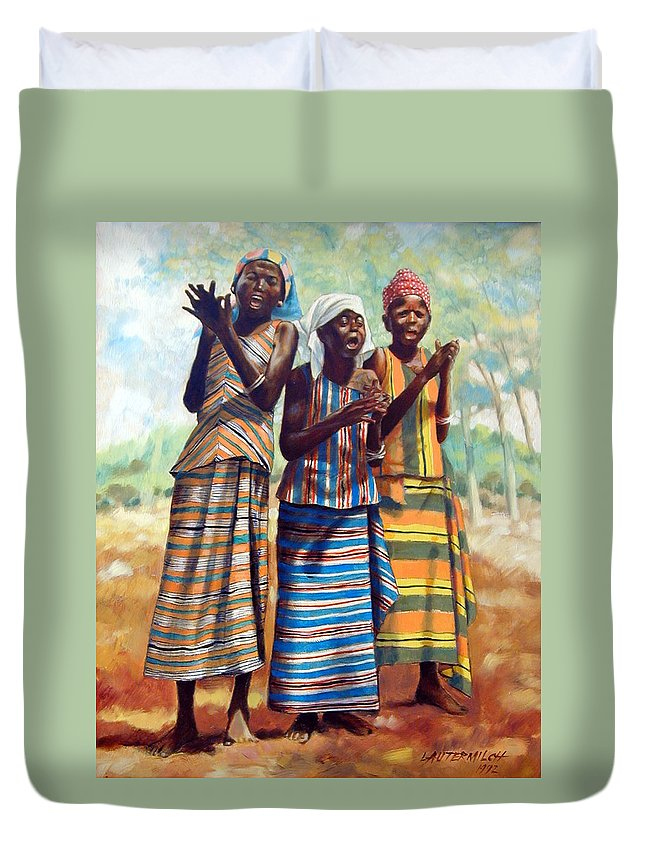 3 African Girls Duvet Cover featuring the painting Three Joyful Girls by John Lautermilch