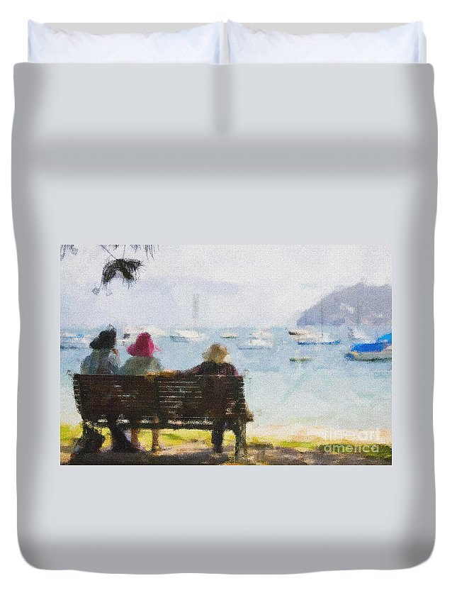 Impressionism Impressionist Water Boats Three Ladies Seat Duvet Cover featuring the photograph Three Ladies by Avalon Fine Art Photography