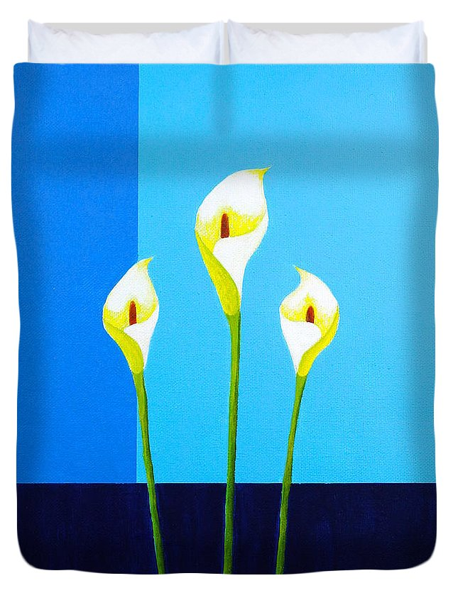 Flowers Duvet Cover featuring the painting Three Lilies by Wonju Hulse