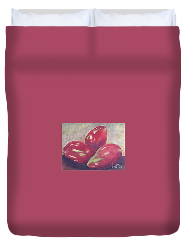 Mangos Duvet Cover featuring the painting Three Mangos by Jeanie Watson