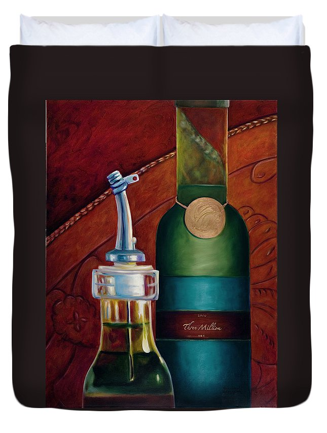 Olive Oil Duvet Cover featuring the painting Three Million Net by Shannon Grissom