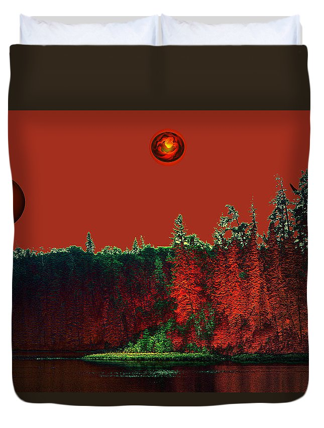 Red Planet Duvet Cover featuring the photograph Three Moons by Andrea Lawrence