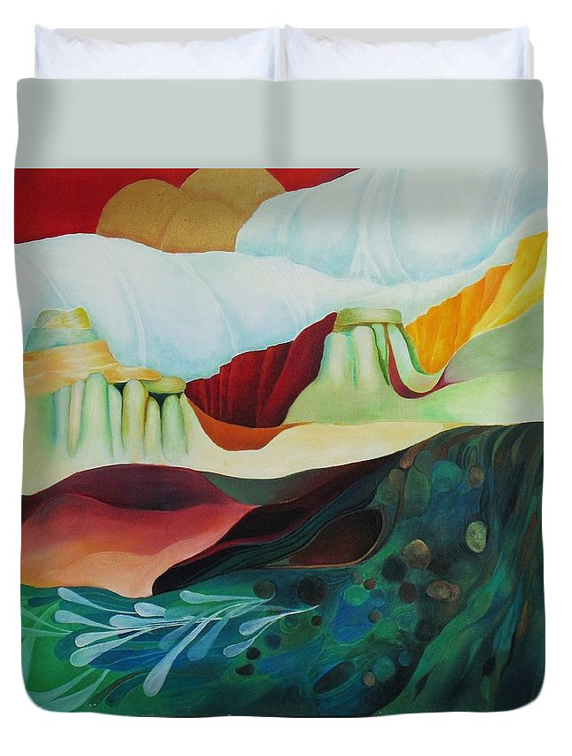 Landscape Duvet Cover featuring the painting Three Moons by Peggy Guichu