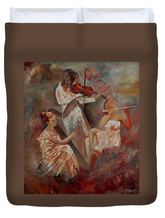Music Duvet Cover featuring the painting Three Musicians by Pol Ledent