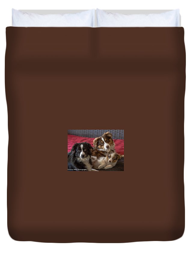 Duvet Cover featuring the photograph Three Muskateers by Penny Miller