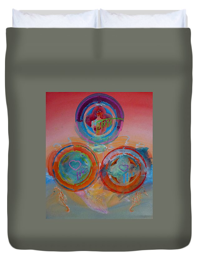 Logo Duvet Cover featuring the painting Three On Marine by Charles Stuart