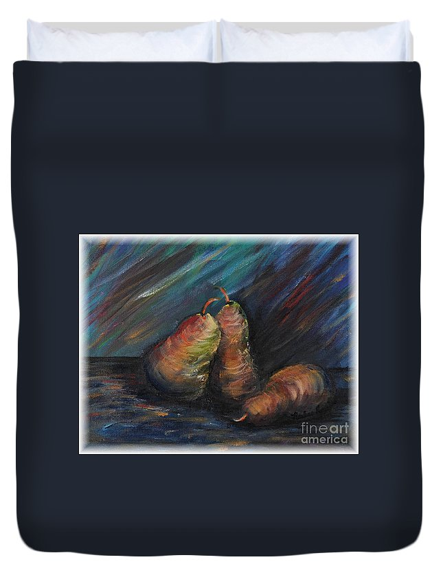 Pears Fruit Stilllife Blue Red Gold Orange Duvet Cover featuring the painting Three Pears by Nadine Rippelmeyer
