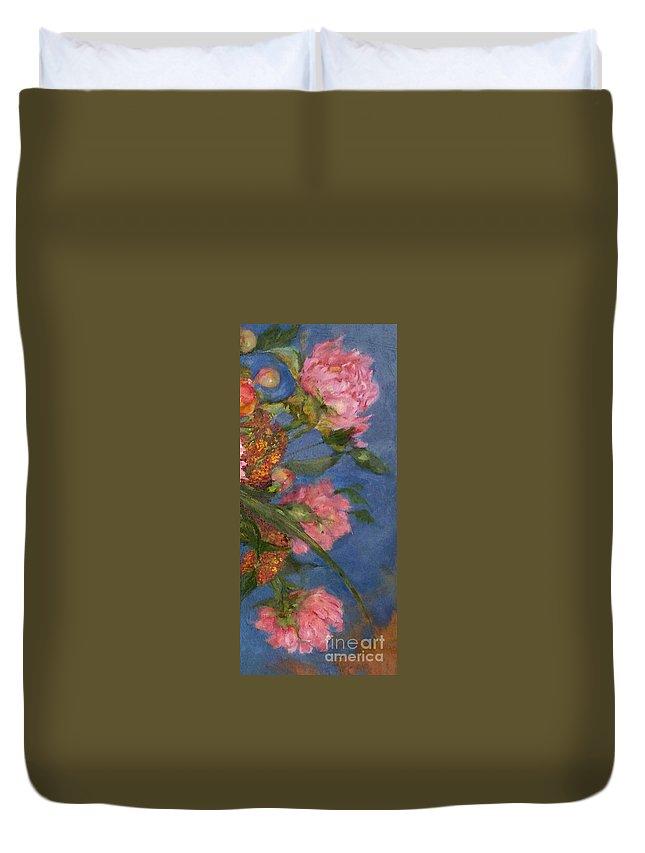 Pink Peonies Against The Sky Duvet Cover featuring the painting Three Peonies by Kathleen Hoekstra