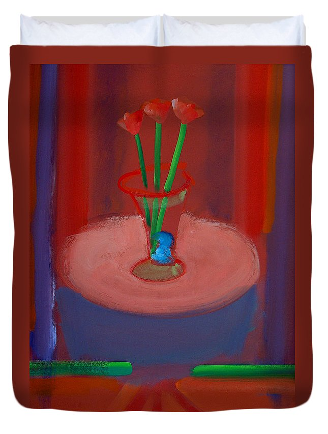 Poppies Duvet Cover featuring the painting Three Poppies In A Vase by Charles Stuart
