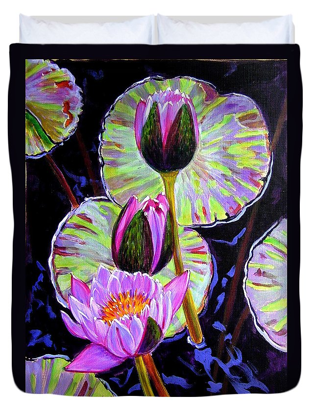 Water Lilies Duvet Cover featuring the painting Three Purple Lilies by John Lautermilch