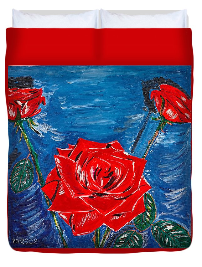 Rose Duvet Cover featuring the painting Three Red Roses Four Leaves by Valerie Ornstein