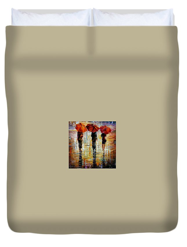 Cityscape Duvet Cover featuring the painting Three Red Umbrella by Leonid Afremov