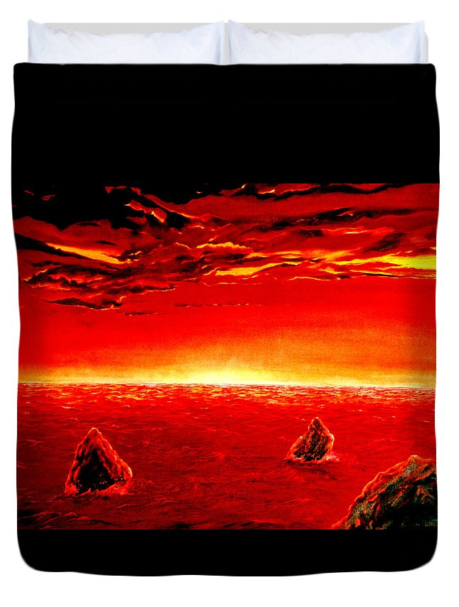 Seascape Duvet Cover featuring the painting Three Rocks In Sunset by Mark Cawood