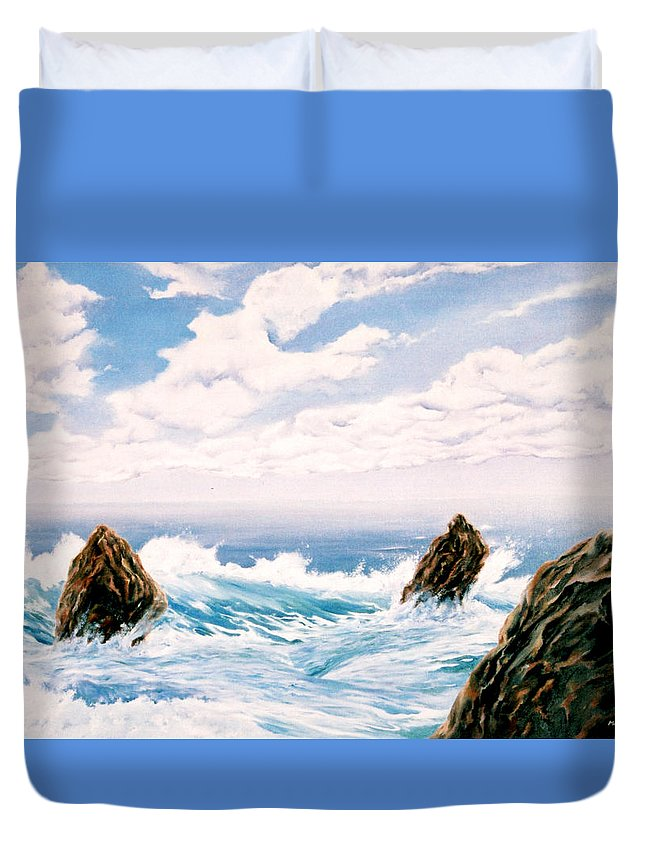 Seascape Duvet Cover featuring the painting Three Rocks by Mark Cawood
