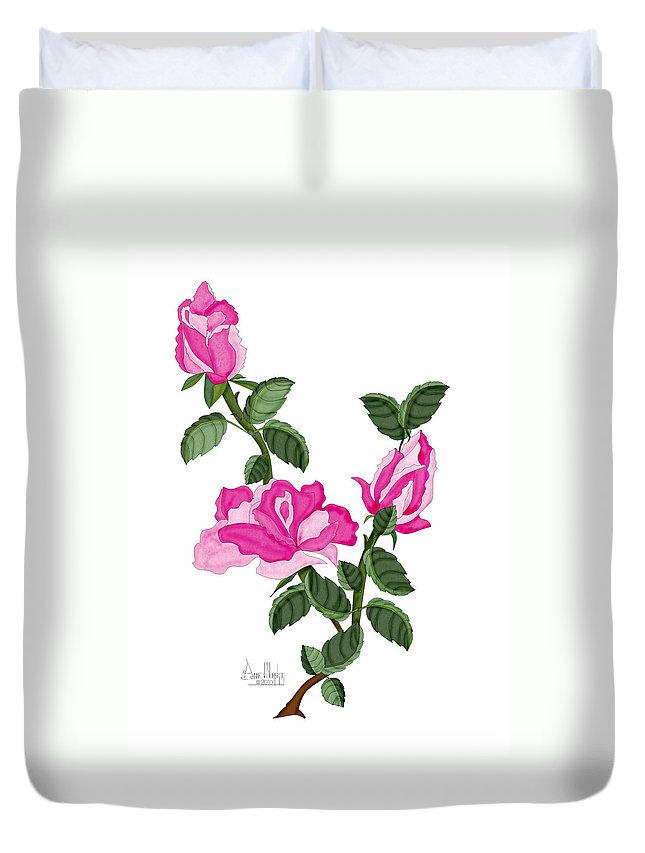Roses Duvet Cover featuring the painting Three Roses in the Garden by Anne Norskog