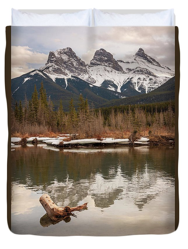 Canmore Duvet Cover featuring the photograph Three Sisters by Cory Huchkowski