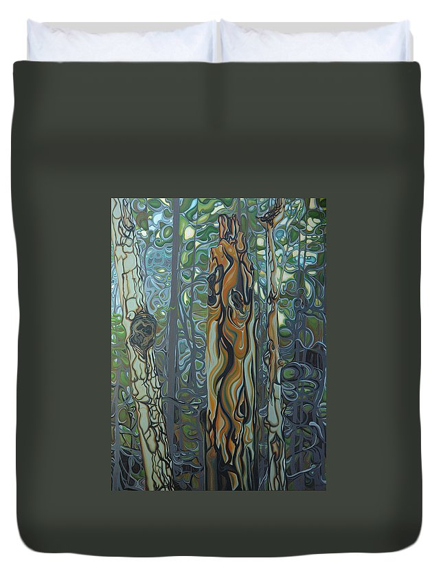 Landscape Duvet Cover featuring the painting Three Sisters by Jan Lyons