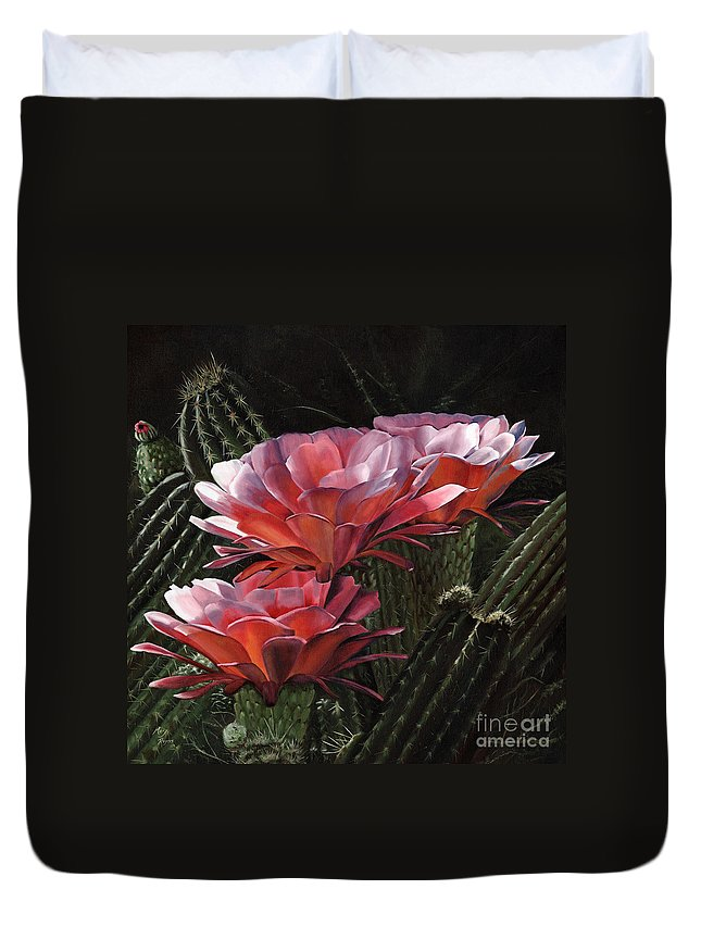 Art Duvet Cover featuring the painting Three Sisters by Mary Rogers