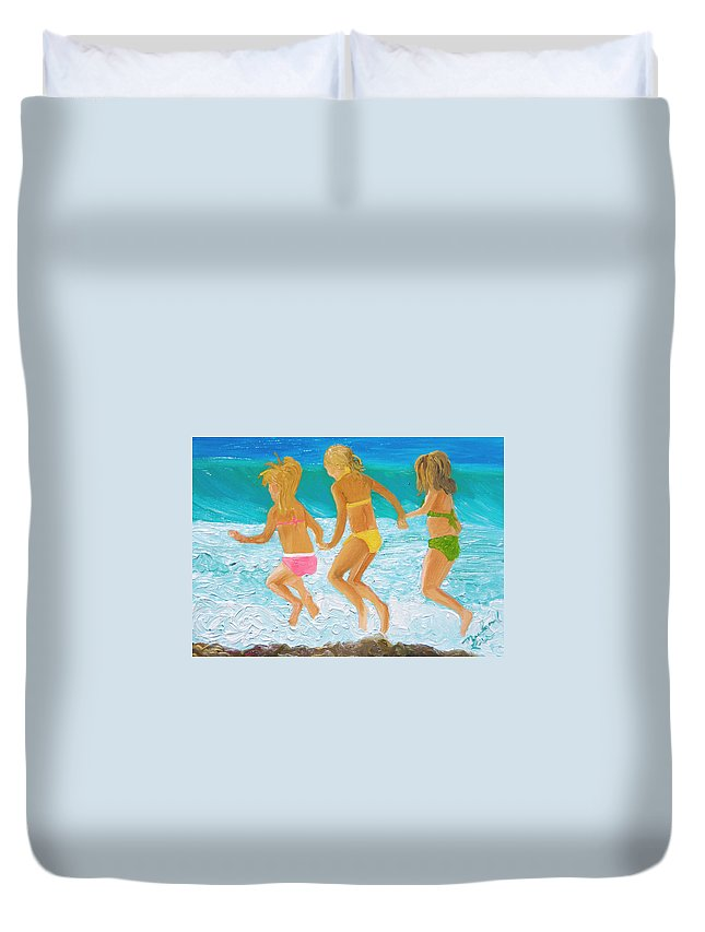 Girls On The Beach Duvet Cover featuring the painting Three Sisters by Michael Lee