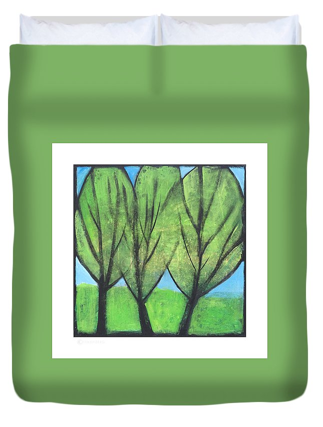 Trees Duvet Cover featuring the painting Three Sisters by Tim Nyberg
