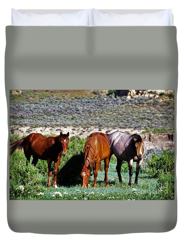 Horses Duvet Cover featuring the photograph Three Together by Merle Grenz