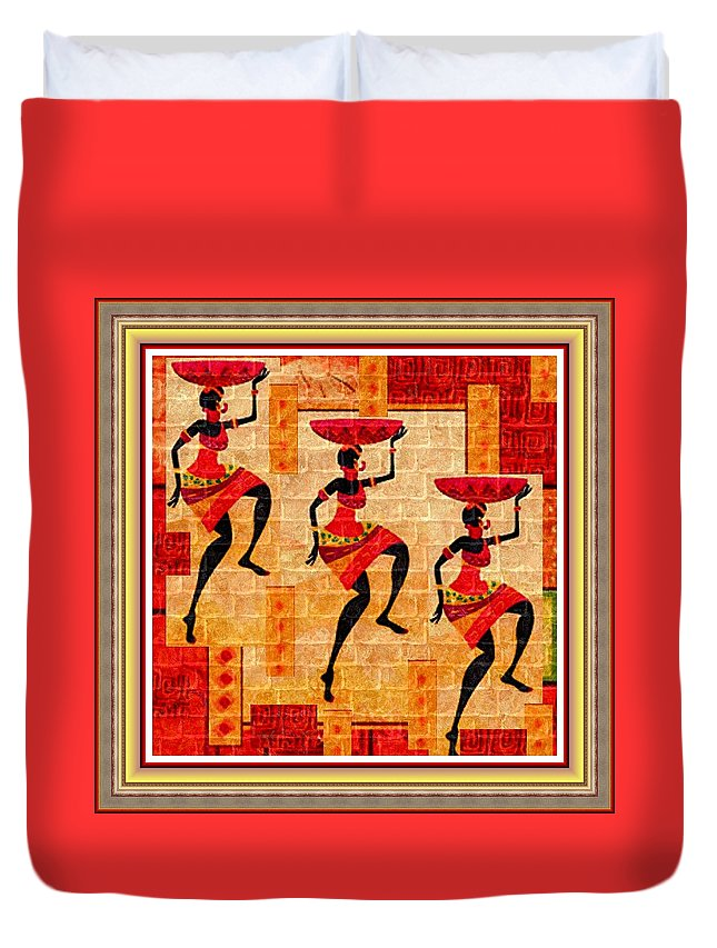 Tribal Duvet Cover featuring the painting Three Tribal Dancers L B With Decorative Ornate Printed Frame by Gert J Rheeders