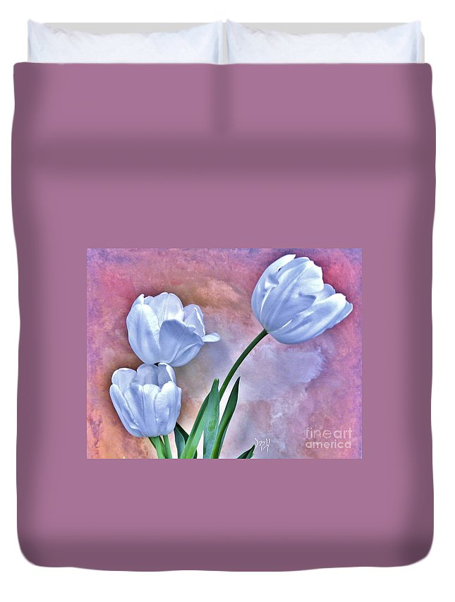 Photo Duvet Cover featuring the photograph Three White Tulips by Marsha Heiken