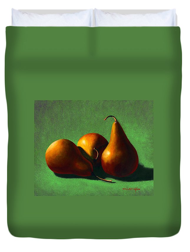 Still Life Duvet Cover featuring the painting Three Yellow Pears by Frank Wilson