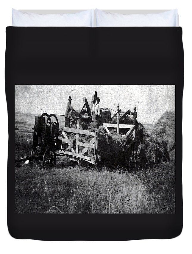 Old Photo Black And White Classic Saskatchewan Pioneers History Thresher Farming Duvet Cover featuring the photograph Threshing Day by Andrea Lawrence