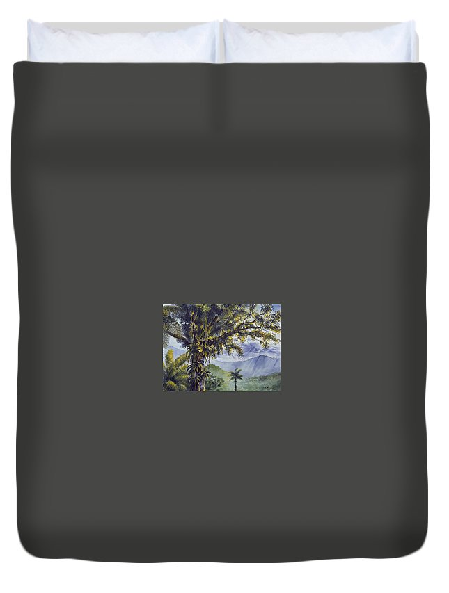 Chris Cox Duvet Cover featuring the painting Through The Canopy by Christopher Cox