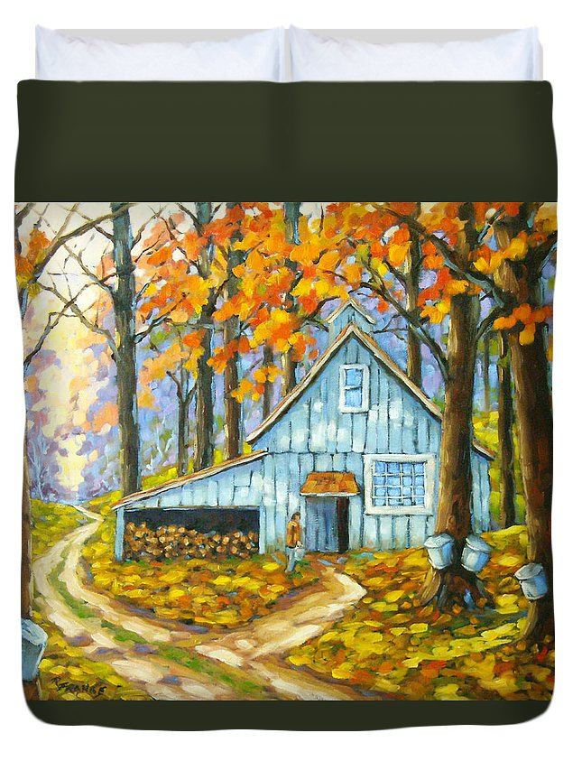 Sugar Shack Duvet Cover featuring the painting Through The Deep Woods by Richard T Pranke