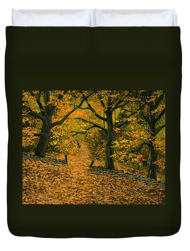 Landscape Duvet Cover featuring the painting Through The Fallen Leaves by Frank Wilson