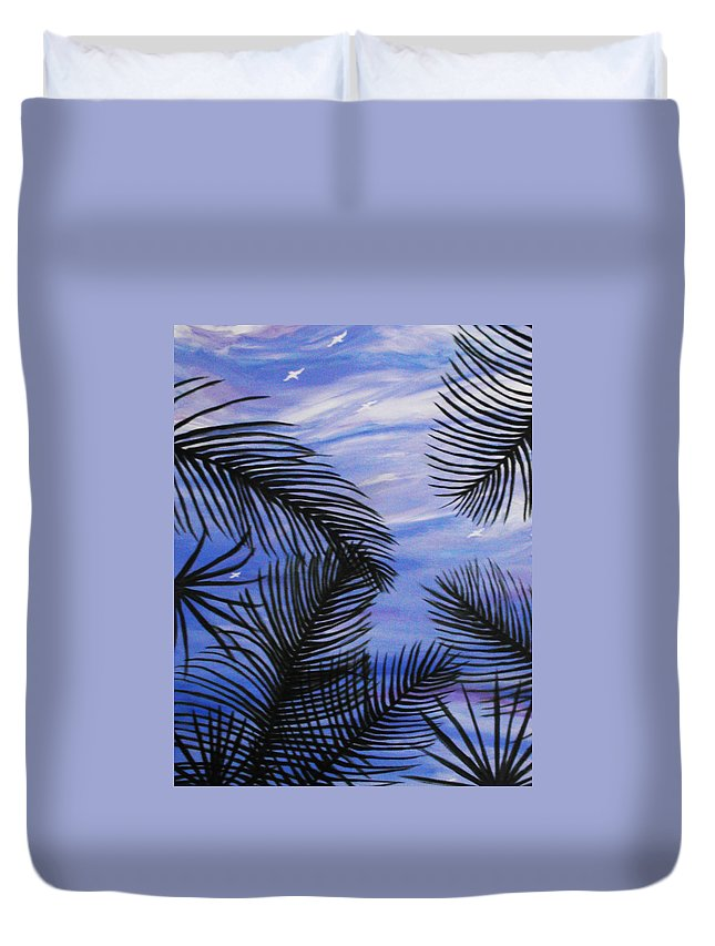 Palm Duvet Cover featuring the painting Through The Fronds by Anne Marie Brown