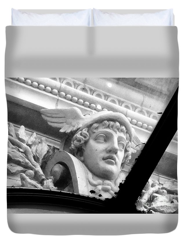 Sculpture Duvet Cover featuring the photograph Through The Glass Of Time Encore by Mioara Andritoiu