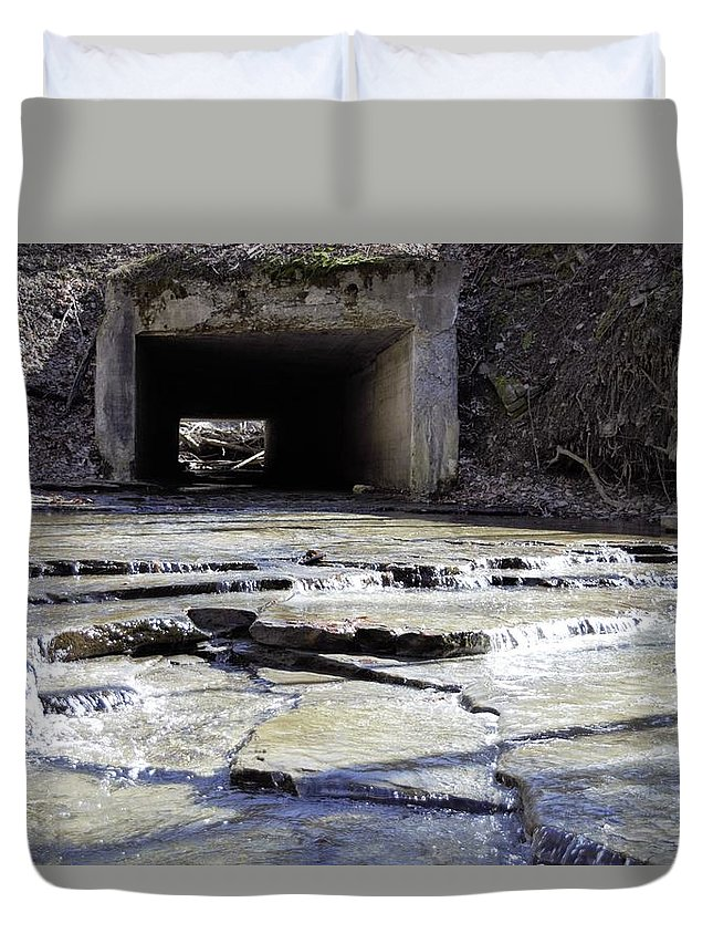 Tunnel Duvet Cover featuring the photograph Through The Hill by Christina McNee-Geiger