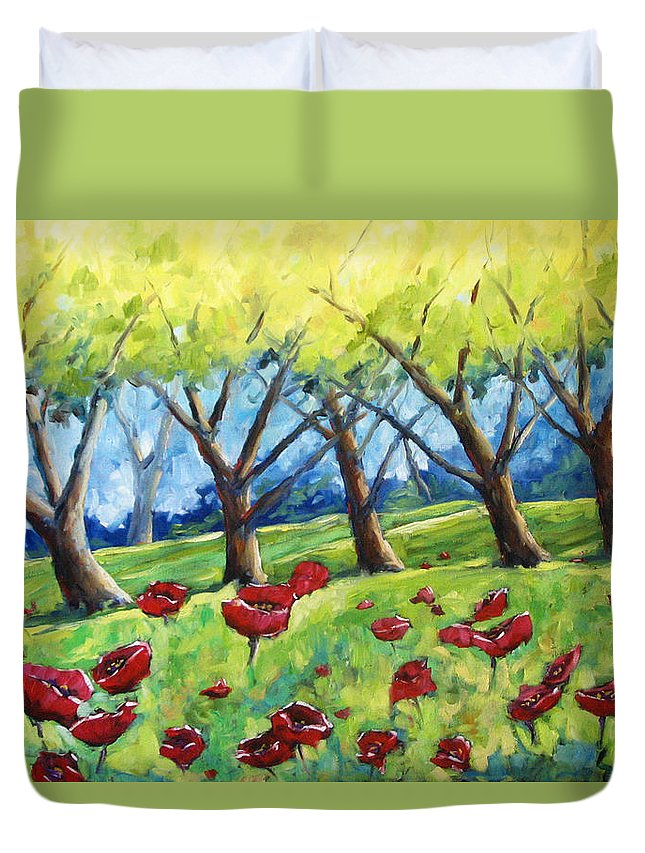 Landscape Duvet Cover featuring the painting Through The Meadows by Richard T Pranke