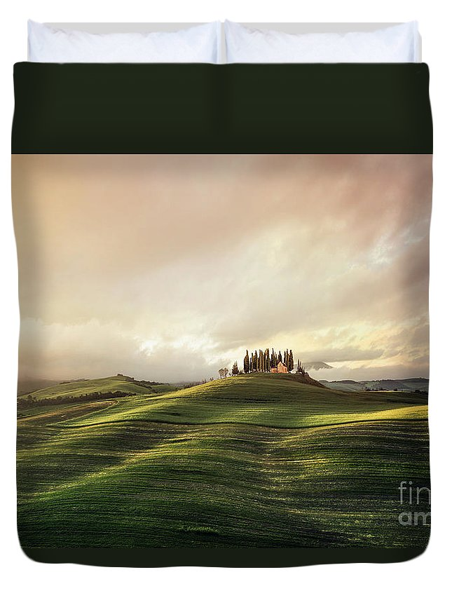 Kremsdorf Duvet Cover featuring the photograph Through The Mists Of Dawn by Evelina Kremsdorf