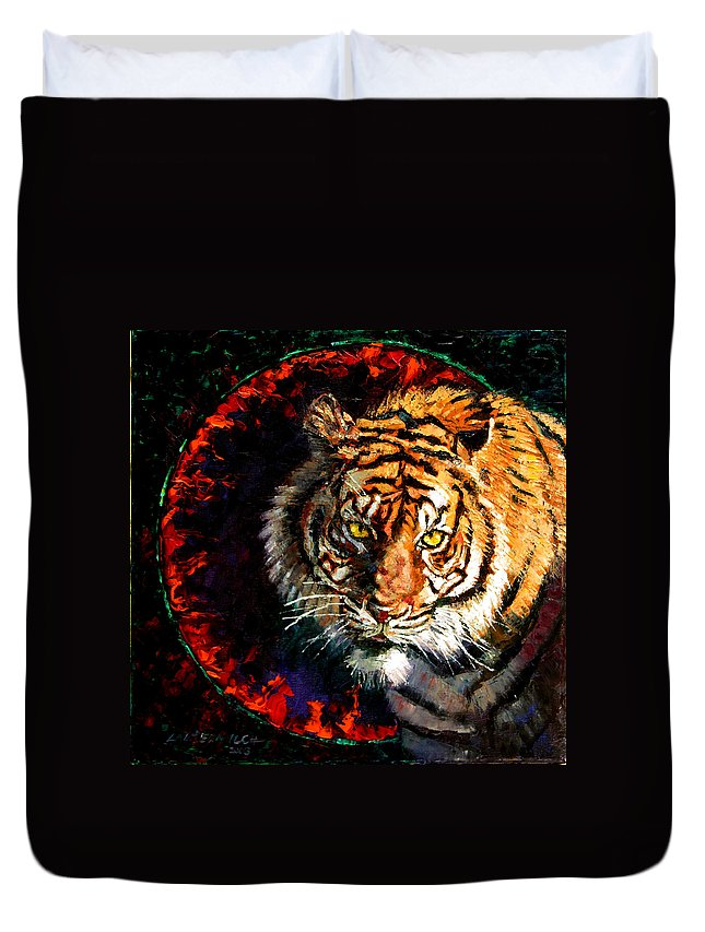 Tiger Duvet Cover featuring the painting Through The Ring Of Fire by John Lautermilch