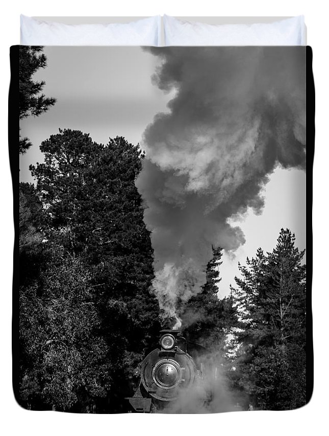 Locomotive Duvet Cover featuring the photograph Through The Steam by Robert Caddy